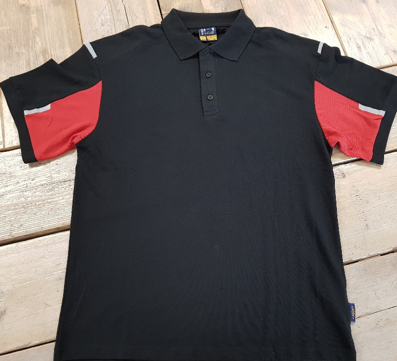 Work Poloshirt - Zwart met Rode Accenten - Maat L