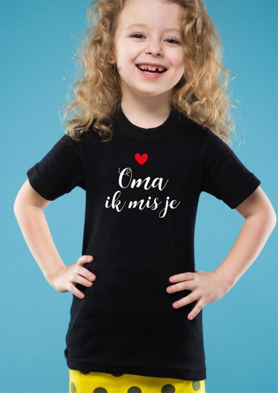 T-shirt Oma ik mis je (meisje)