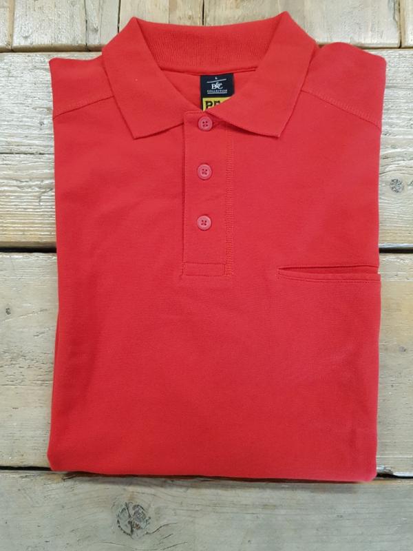 Work Poloshirt B&C Skill Pro - Rood  - Maat L