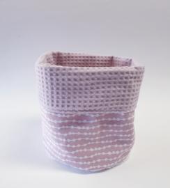 COMMODEMANDJE- Oud roze garland met roze wafelstof