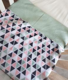 LEDIKANTDEKEN  (WINTER) - Oud groen/ roze minky fleece-stof met wafelstof naar keuze