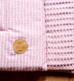 BOXKLEED- Roze wit fantasie met roze wafelstof