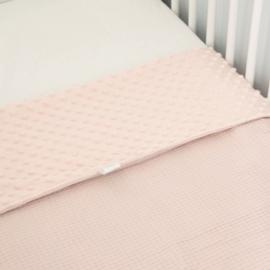 LEDIKANTDEKEN - Minky oud roze met oud roze wafel