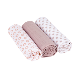 LÄSSIG- Set Hydrofiele katoenen swaddles Little Chums Star Light Pink maat L