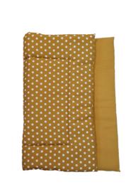 BOXKLEED- Okergeel/ witte dots met kleur wafelstof naar keuze
