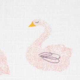 LÄSSIG - Set Hydrofiele Bamboe swaddles Little Water Swan maat L