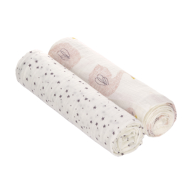 LÄSSIG -  Set Hydrofiele Bamboe swaddles Little Water Swan maat XL