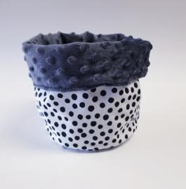 COMMODEMANJDE- Zwart- witte dots met donker grijze minky