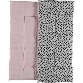 BOXKLEED- Zwart- witte dots met roze wafelstof