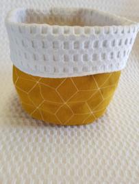 COMMODEMANDJE - Oker 3D met witte wafelstof