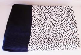 AANKLEEDKUSSENHOES- Zwart/wit Dalmatiër met zwarte wafelstof