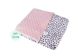 WAGENDEKEN - Zwart-wit dots met oud roze minky