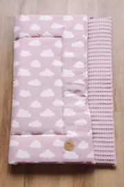 BOXKLEED- Roze wit wolkjes met roze wafelstof