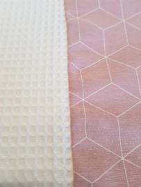 AANKLEEDKUSSENHOES- 3D Oud roze met witte wafelstof