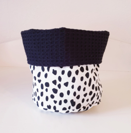 COMMODEMANDJE- Zwart/wit Dalmatiër met zwarte wafelstof