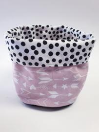 COMMODEMANDJE- Zwart-witte dots met roze-witte pijltje