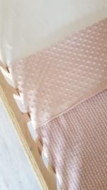 LEDIKANTDEKEN- Oud roze Garland met minky stof naar keuze