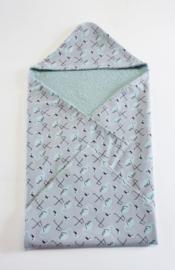 BADCAPE- Flamingo grijs met oud groene badstof