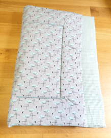BOXKLEED- Flamingo grijs met oud groene wafelstof