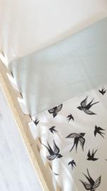 LEDIKANTDEKEN - Zwart- wit vogelprint met  wafelstof naar keuze