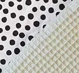 COMMODEMANDJE - Zwart/witte dots met oud groene minky- of oud groene wafelstof