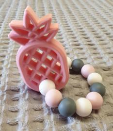 BIJTRING- Siliconen Ananas Roze