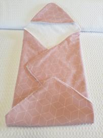 BADCAPE- Oud roze 3D print met witte badstof