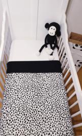 LEDIKANTDEKEN- Zwart/wit Dalmatiër met zwarte wafelstof