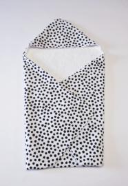 BADCAPE- Zwart-witte dots met witte badstof