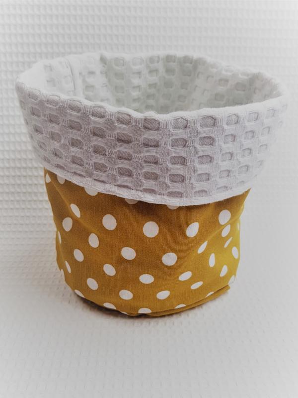 COMMODEMANDJE - Okergeel dots met witte wafelstof