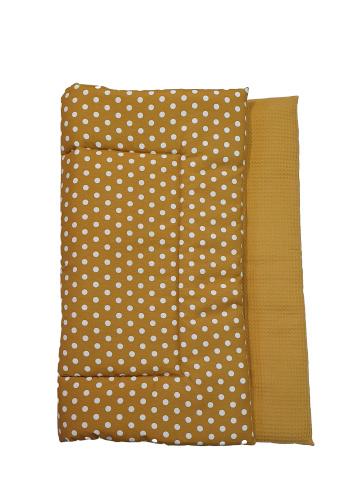 BOXKLEED- Okergeel/ witte dots met okergele wafelstof