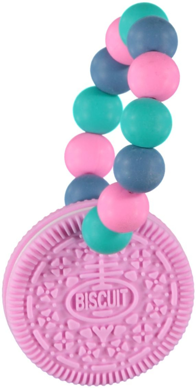 BIJTRING- Siliconen koekje Roze