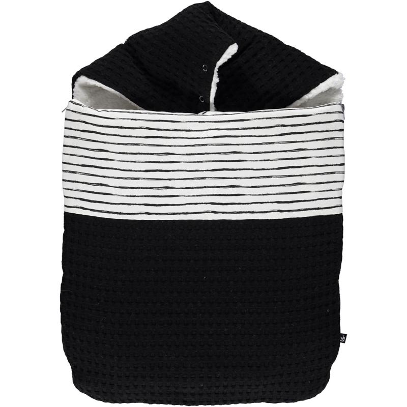 VOETENZAK- Luxe wafelstof zwart met sketched stripes