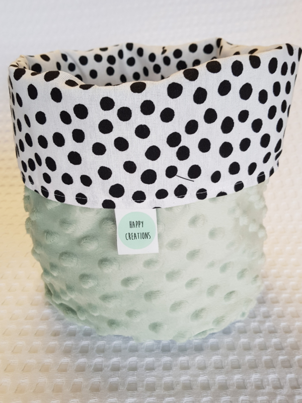 COMMODEMANDJE - Zwart-witte dots met oud groene minky