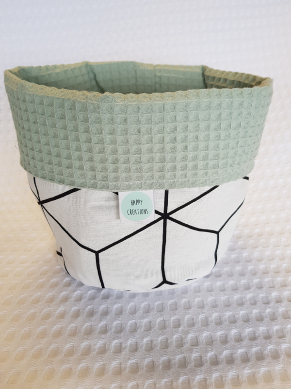 COMMODEMANDJE- Wit 3D met oud groene wafel