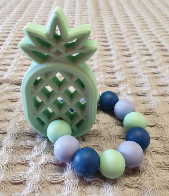 BIJTRING- Siliconen Ananas Groen
