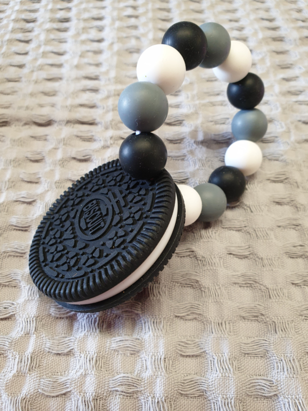 BIJTRING- Siliconen Oreo-koekje Zwart