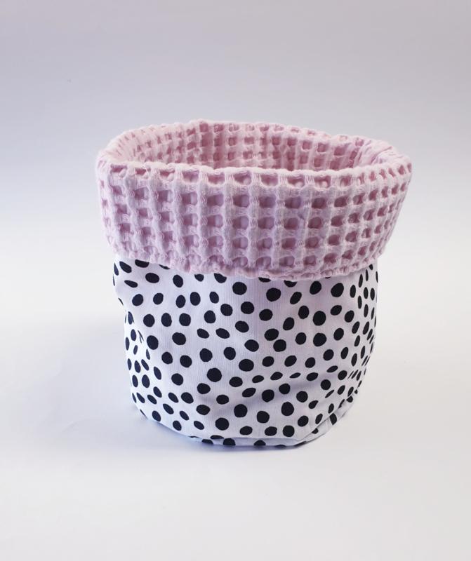 COMMODEMANDJE - Zwart-witte dots met roze wafelstof (grote wafel )