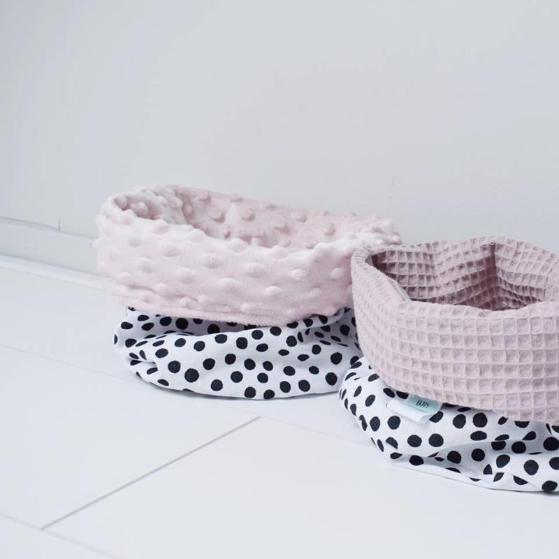 COMMODEMANDJE - Zwart/witte dots met oud roze minky of oud roze wafelstof