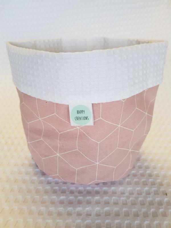 COMMODEMANDJE - Oud roze 3D met witte wafelstof