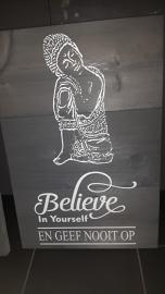 Steigerhout Boedha Believe 60 x 40