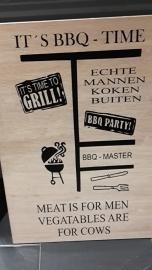 Steigerhoutenbord It`s BBQ time  40 x 60