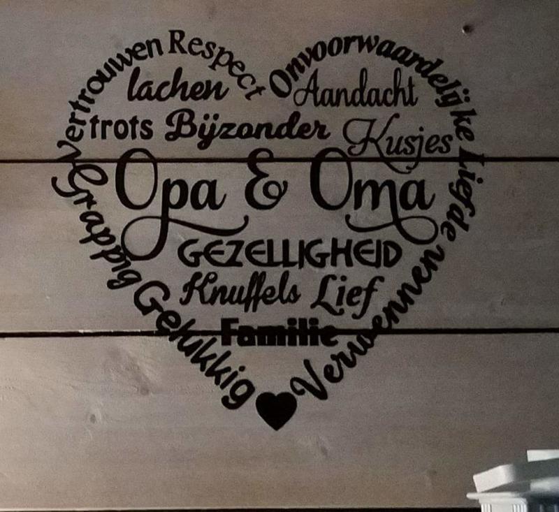 Steigerhout 60 x 60 Opa en Oma