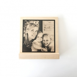 Foto op hout met standaard