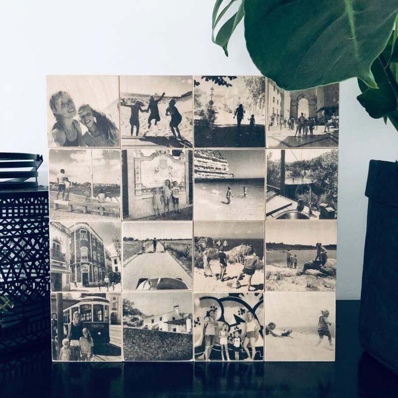 Foto op hout collage - 16 foto's zwart-wit