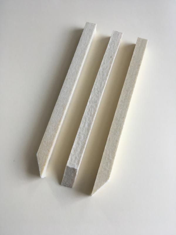 Polijstvilt staaf 10x10x150 mm hard (geimpregneerd)zuivere wolvilt per 3 stuks