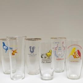 Set van 6 glazen vogelvereniging