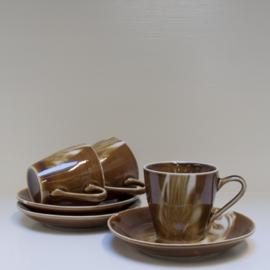 Set van 3 vintage kop en schotel