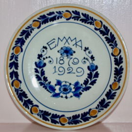 Wandbord Porceleyne Fles 1929 50ste verjaardag Emma