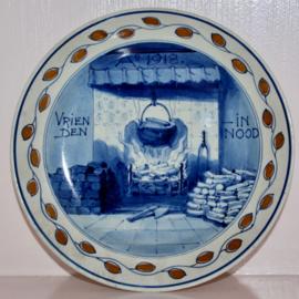 Wandbord Porceleyne Fles 1918 Vrienden in nood